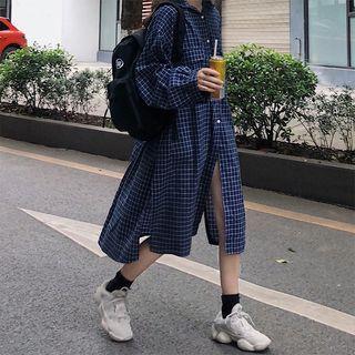 Plaid Long-sleeve Midi Shirt Dress Blue - One Size