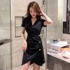Short-sleeve V-neck Button-up Dress
