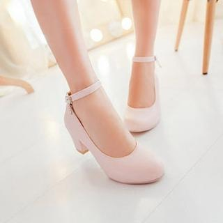 Ankle-strap Block-heel Pumps