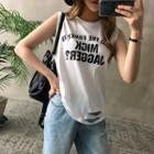 Lettering Sleeveless Ripped Top