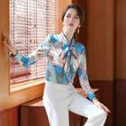 Printed Bow Accent Blouse / Boot-cut Pants / Set
