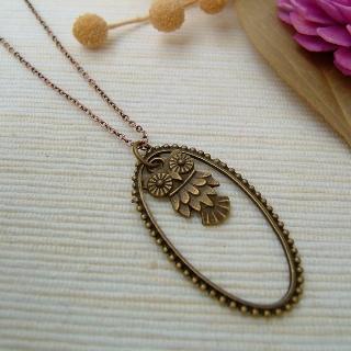 Teardrop Owl Necklace Copper - One Size