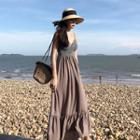 Sleeveless Striped Panel Midi Dress