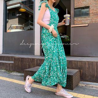 Frilled-strap Floral Maxi Jumper Dress