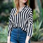 Dolman-sleeve Striped Shirt Black, White - One Size
