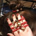Smiley Red String Hair Tie
