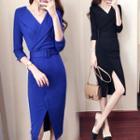 Front Slit 3/4-sleeve Sheath Dress