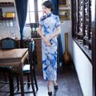 Print Short Sleeve Maxi Cheongsam