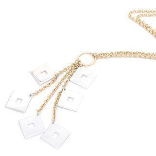 18k White & Yellow Gold Dangling Squares Necklace