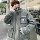 Contrast Trim Letter Embroidered Shearling Coat