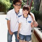 Couple Matching Short-sleeve Contrast Trim Polo Shirt