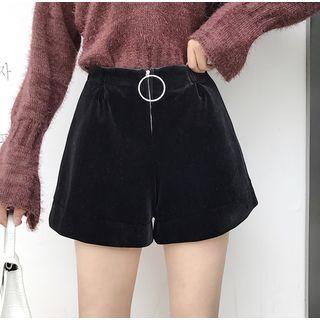 Zip-detail High-waist Velvet Shorts Black - One Size
