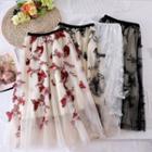 Embroidered Mesh Skirt Butterfly Skirt