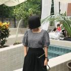 Puff-sleeve Checked Top