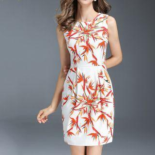 Sleeveless Printed Mini Pencil Dress