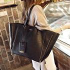 Faux-leather Tote + Zip Clutch