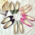 Faux Suede Pointy-toe Flats