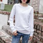 Long-sleeve Ruffle-detail T-shirt