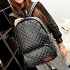 Faux-leather Quilted Backpack