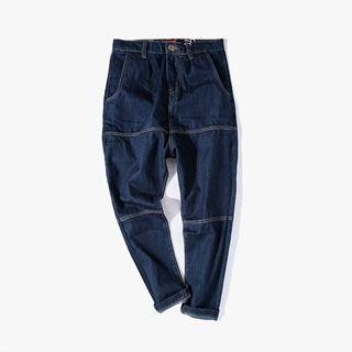Contrast-stitch Drop-crotch Jeans