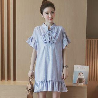 Short-sleeve Tie-neck Striped Dress