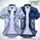 Washed Short-sleeve Denim Shirt