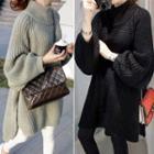 Mock-turtleneck Split Long Sweater