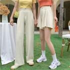 Plain Wide-leg Pants / Shorts
