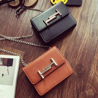 Faux Leather Chained Shoulder Bag