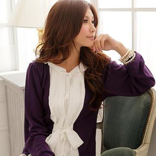 Inset Cardigan Pleated Shirt