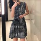 Sleeveless Houndstooth A-line Dress