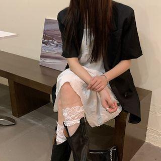 Spaghetti Strap Midi A-line Dress / Short-sleeve Blazer