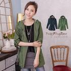 Faux Suede Drawstring Hooded Jacket