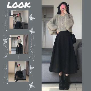 Set Of 2: Knit Balloon-sleeve Cardigan + Midi Skirt