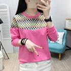 Chevron Patterned Long Sleeve Top
