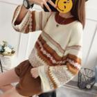 Pattern Wide-sleeve Sweater