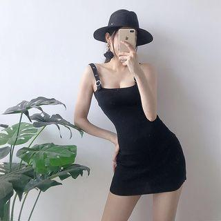 Adjustable Strap Mini Knit Dress Black - One Size