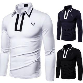 Embroidered Contrast Trim Long-sleeve Polo Shirt