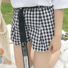 Gingham Wide Leg Shorts With Belt