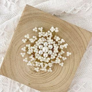 Faux Pearl Brooch White & Gold - One Size