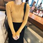 Long-sleeve Knit Top Ginger Yellow - One Size