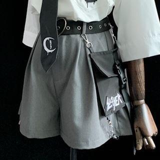Set: Buckled Wide-leg Shorts + Belt Bag