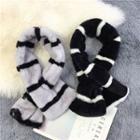 Striped Faux Fur Keyhole Scarf