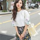 Flower-embroidered Elbow-sleeve T-shirt