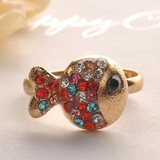 Colorful Diamond Clown Fish Ring One Size