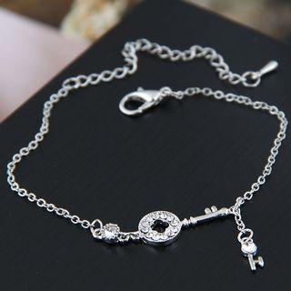 Rhinestone Lock Bracelet Silver - One Size