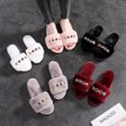 Rhinestone Furry Slide Sandals