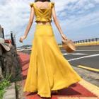 Set: Ruffle Strap Crop Top + A-line Maxi Skirt
