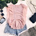 Lace Panel Patterned Knit Vest