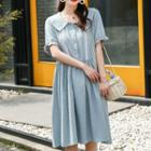 Round-neck Plaid Dress